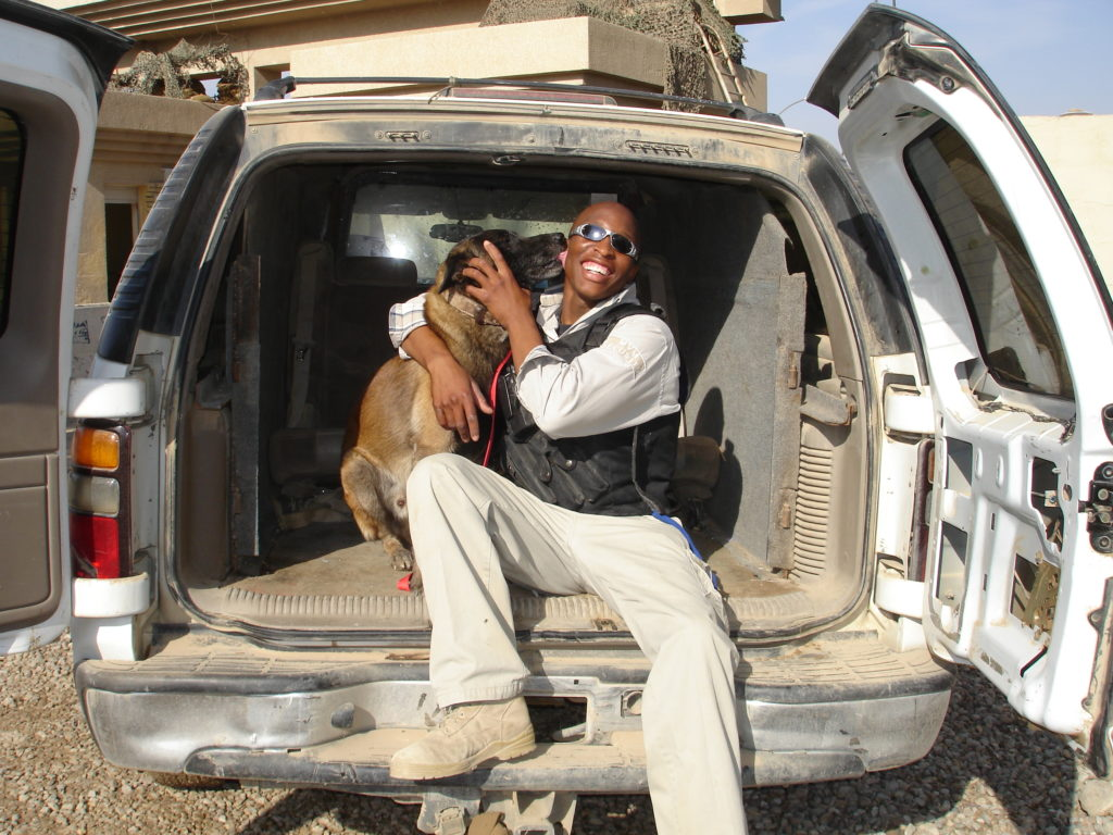 SafeLane handler John bonding with his detection dog