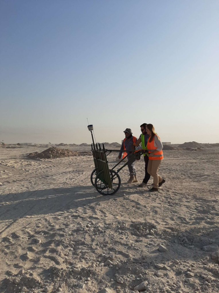 Manpower Executive Charlotte Haines learning to use the geo cart that provides data for non intrusive surveys, while on a trip to Kuwait.