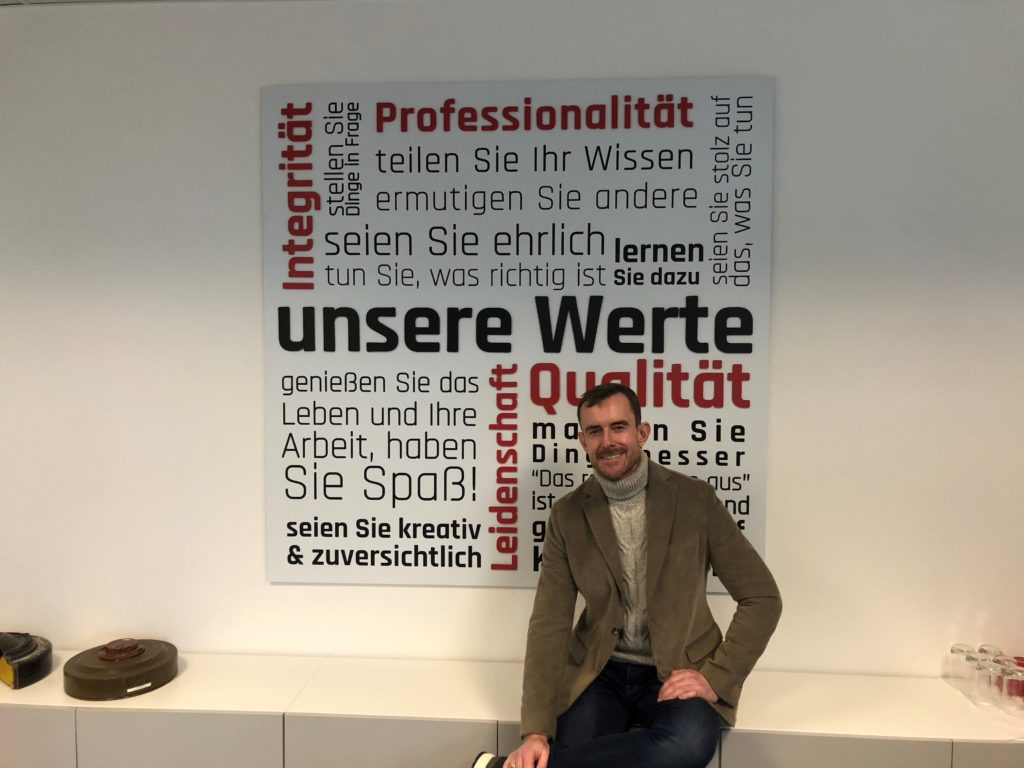 SafeLane Germany Managing Director Steffen Edinger pictured infront of the company values