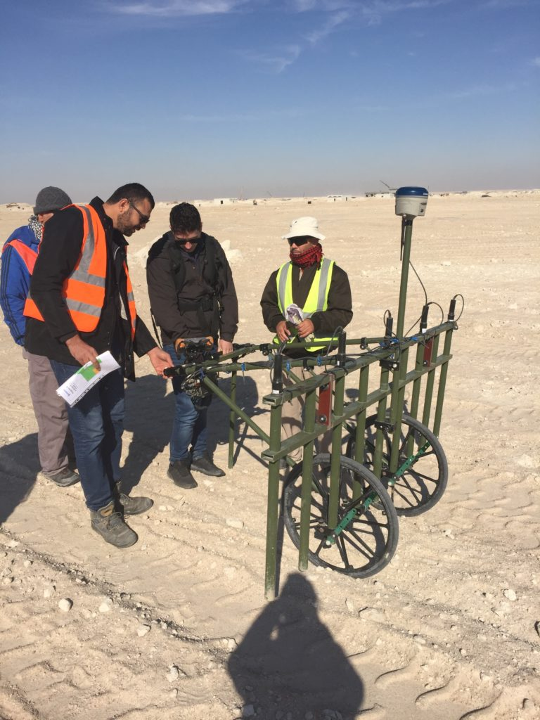 Joe Plant trying out a non intrusive survey in the desert during a project visit to Kuwait.