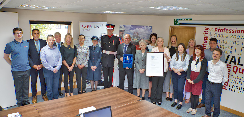 SafeLane Global - Queens Award.Her Majesty's Lord-Lieutenant of Herefordshire Mr Edward Harley OBE visiting SafeLane Global based at Phocle Business Park, Phocle Green, Nr. Ross-on-Wye in Herefordshire.